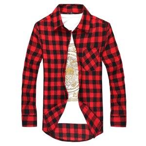 Men Plaid Shirt Men's Fashion Plaid Long-sleeved Shirt