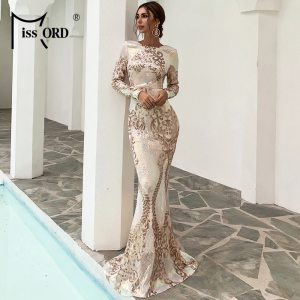 Women Sexy O Neck Long Sleeve Backless Sequin Dresses Female