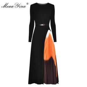 MoaaYina Fashion Designer dress Spring Autumn Women's Dress Sashes