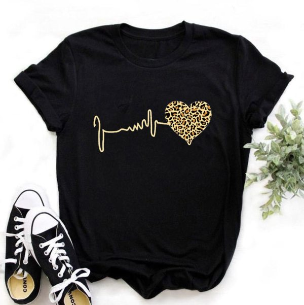 Summer New 90 's Leopard Heartbeat Short Sleeve Print Clothing Women's T-Shirt
