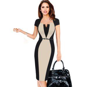 Women Retro Contrast Patchwork Belt Wear to Work Business