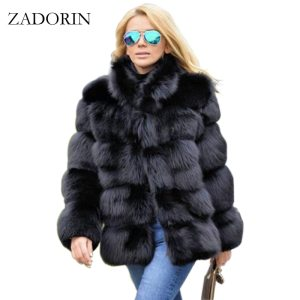 ZADORIN Fashion Winter Coat Women Luxury Faux Fox Fur Coat Plus Size