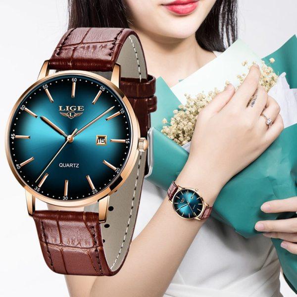 Ladies Watch Women Waterproof Rose Gold Steel Strap Women Wristwatch