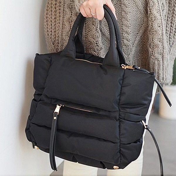 Space Cotton Handbag Women Casual Bag Down Feather Padded Lady Shoulder Bag