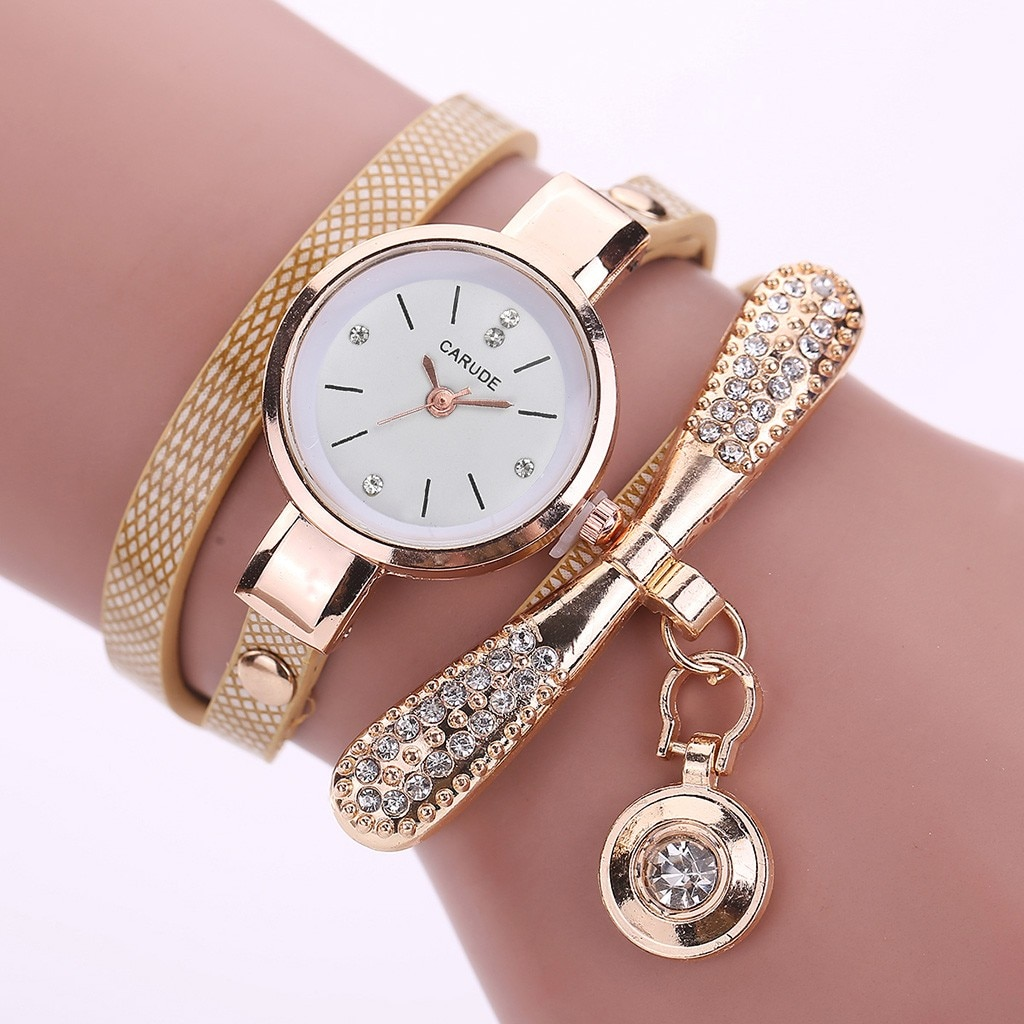 Women Leather Analog Quartz Wrist Watches Finger Chic Gift