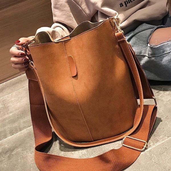 Ladies bucket PU shoulder bag single shoulder