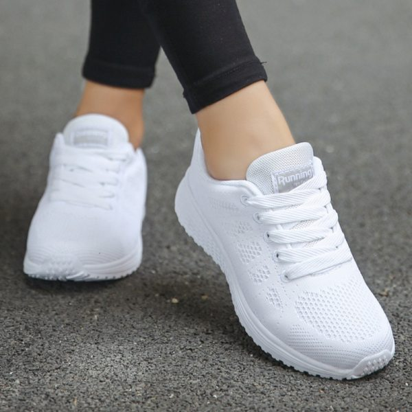 Fashion Lace-Up White Sport Shoes For Women Sneakers