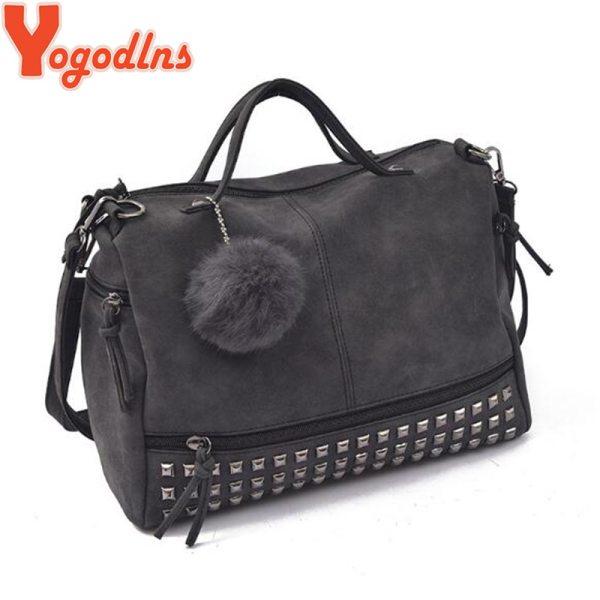 Ladies Handbag Rivet Large Bags Hair Ball Women Shoulder Bag