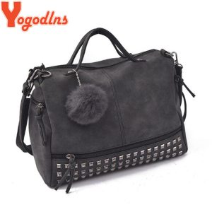Ladies Handbag Rivet Large Bags Hair Ball Women Shoulder Bag