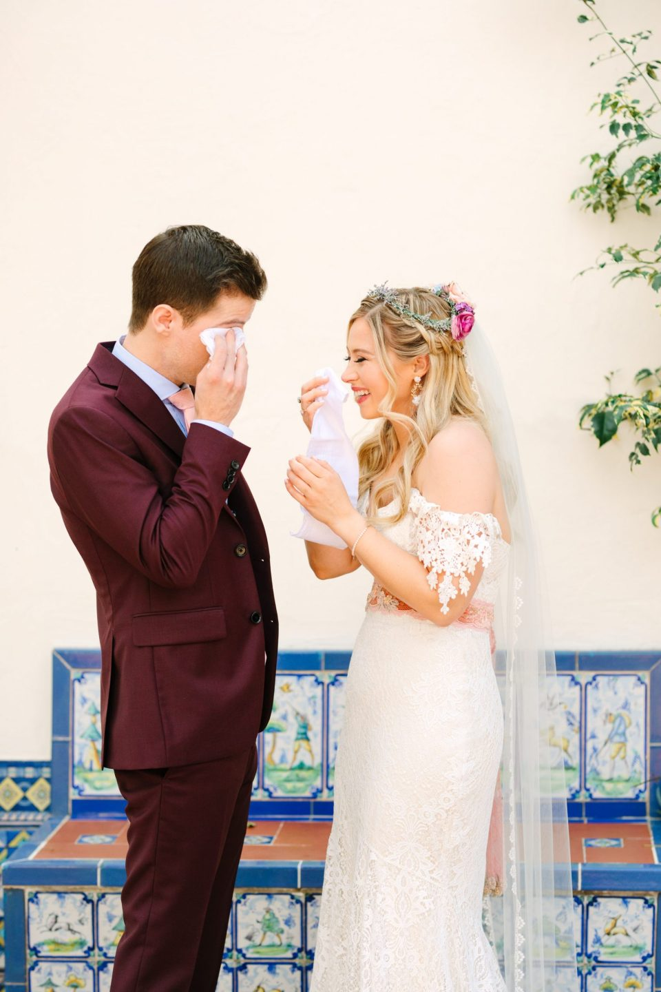 Emotional first look with bride and groom - www.marycostaweddings.com