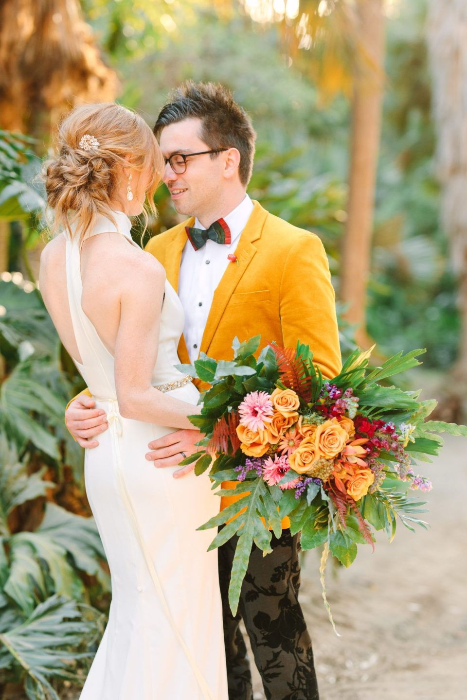 Groom in yellow blazer wedding portrait at Balboa Park in San Diego by Mary Costa Photography