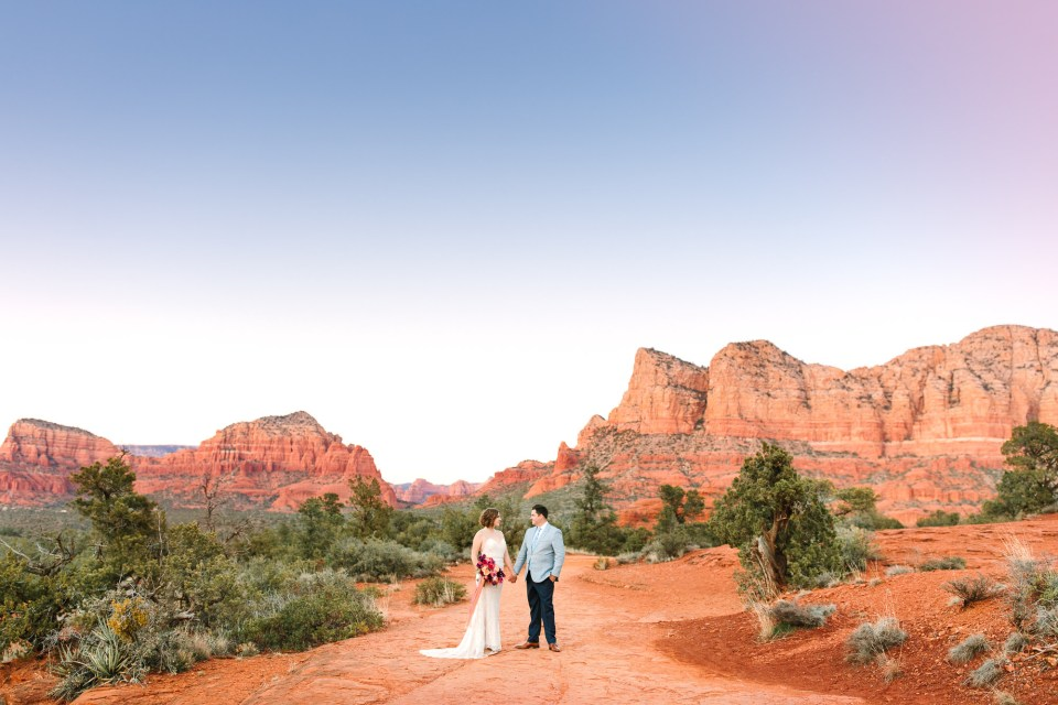 Sedona sunset wedding portrait by Mary Costa Photography