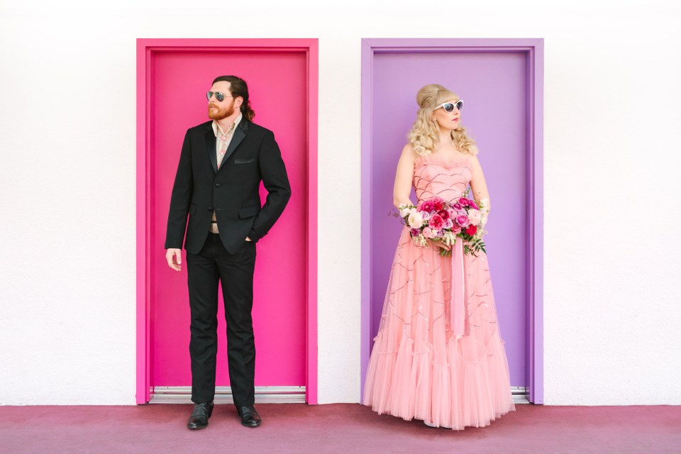 Stylish couple at Saguaro Hotel Palm Springs by Mary Costa Photography