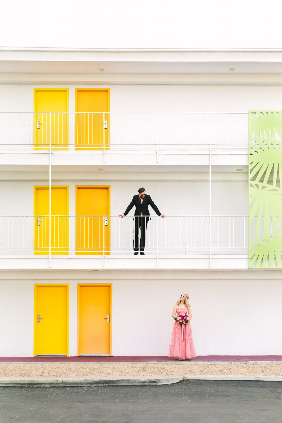 Couple exploring Saguaro Hotel Palm Springs by Mary Costa Photography