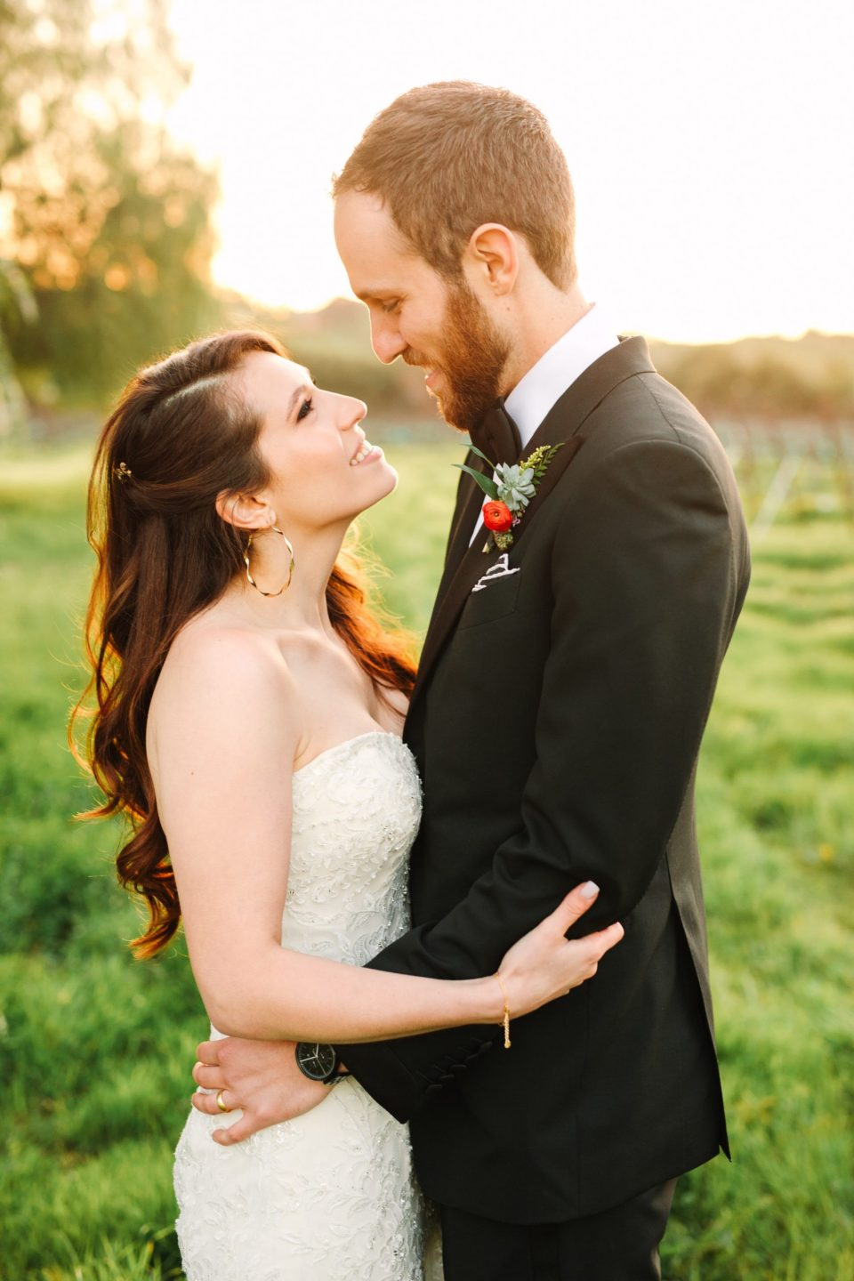 Golden hour wedding portrait by Mary Costa Photography