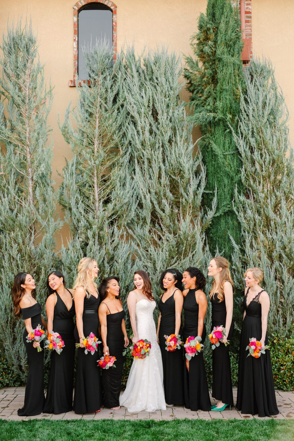 Palm Event Center bridesmaids in black by Mary Costa Photography