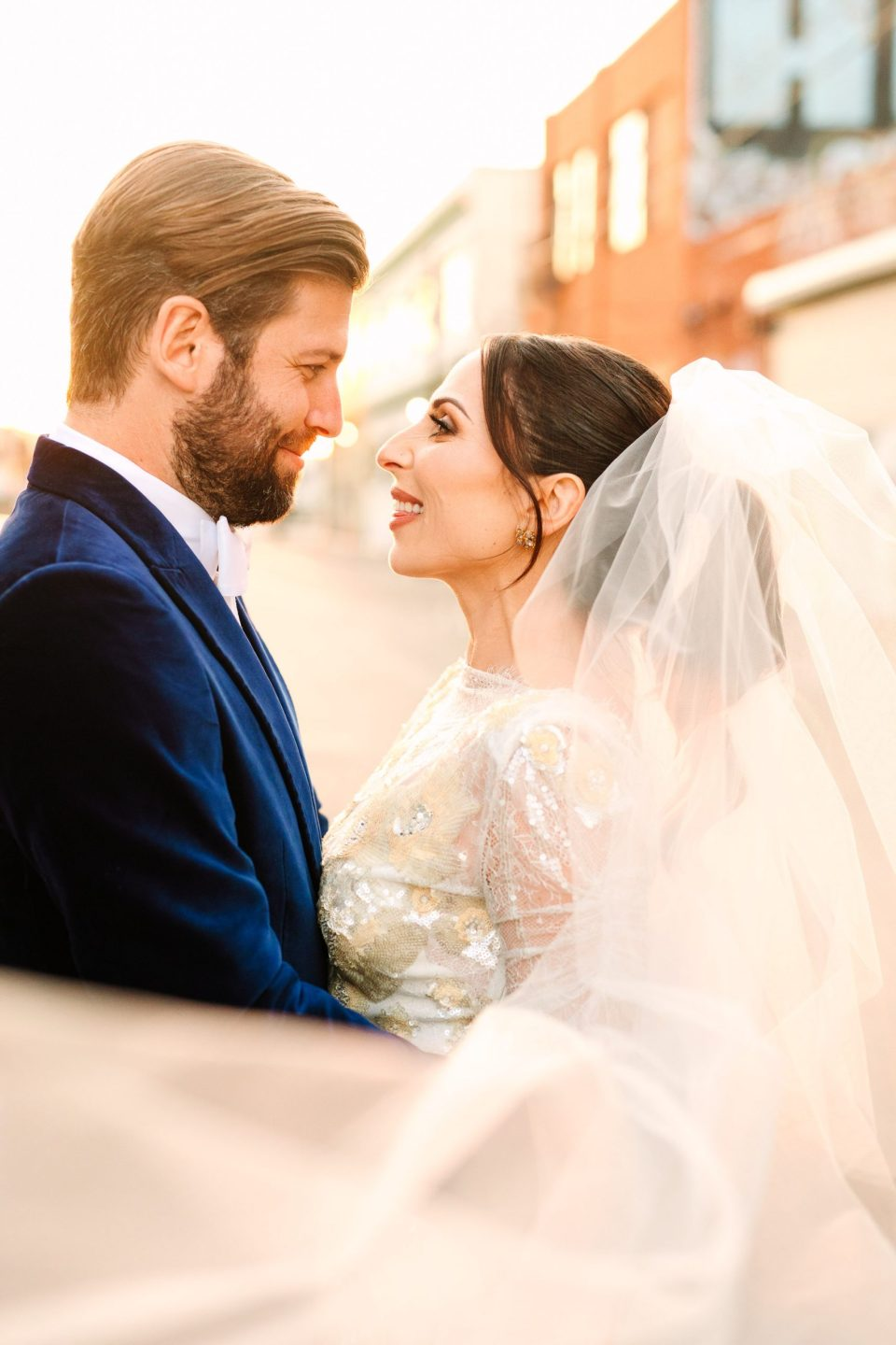 Wedding portrait with veil by Mary Costa Photography