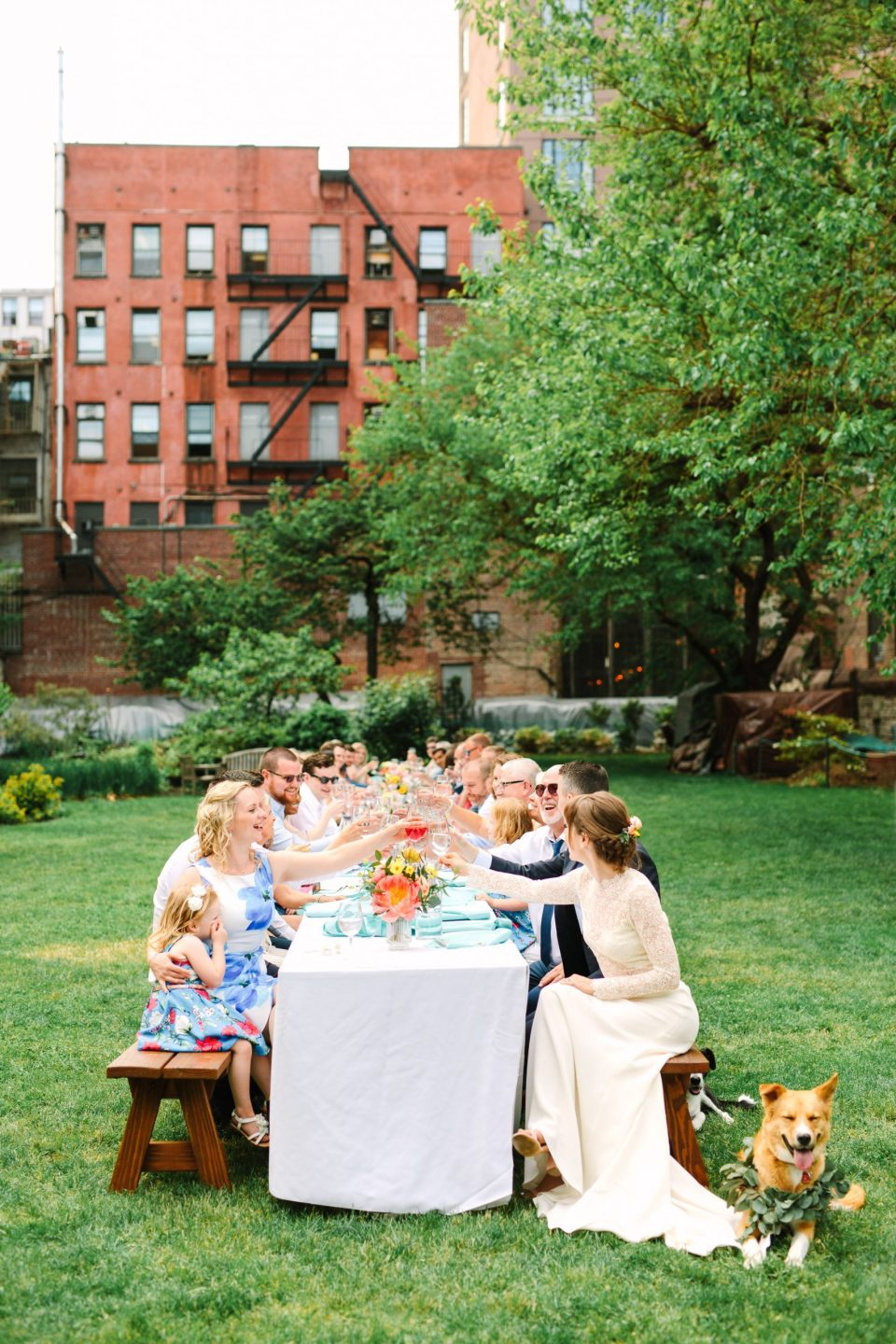 Intimate wedding outdoor dinnerby Mary Costa Photography