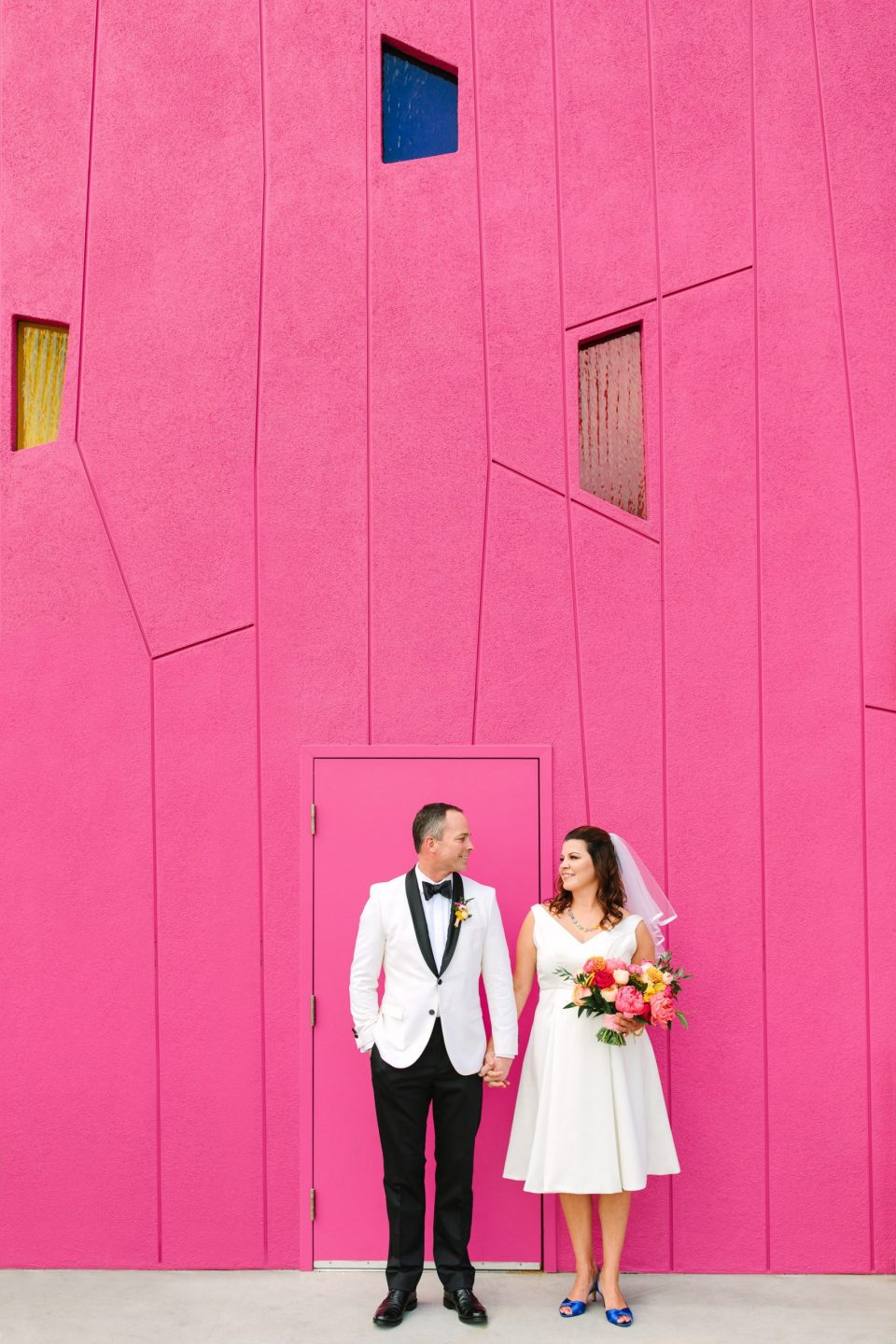 Colorful bride and groom at Saguaro Palm Springs www.marycostaweddings.com