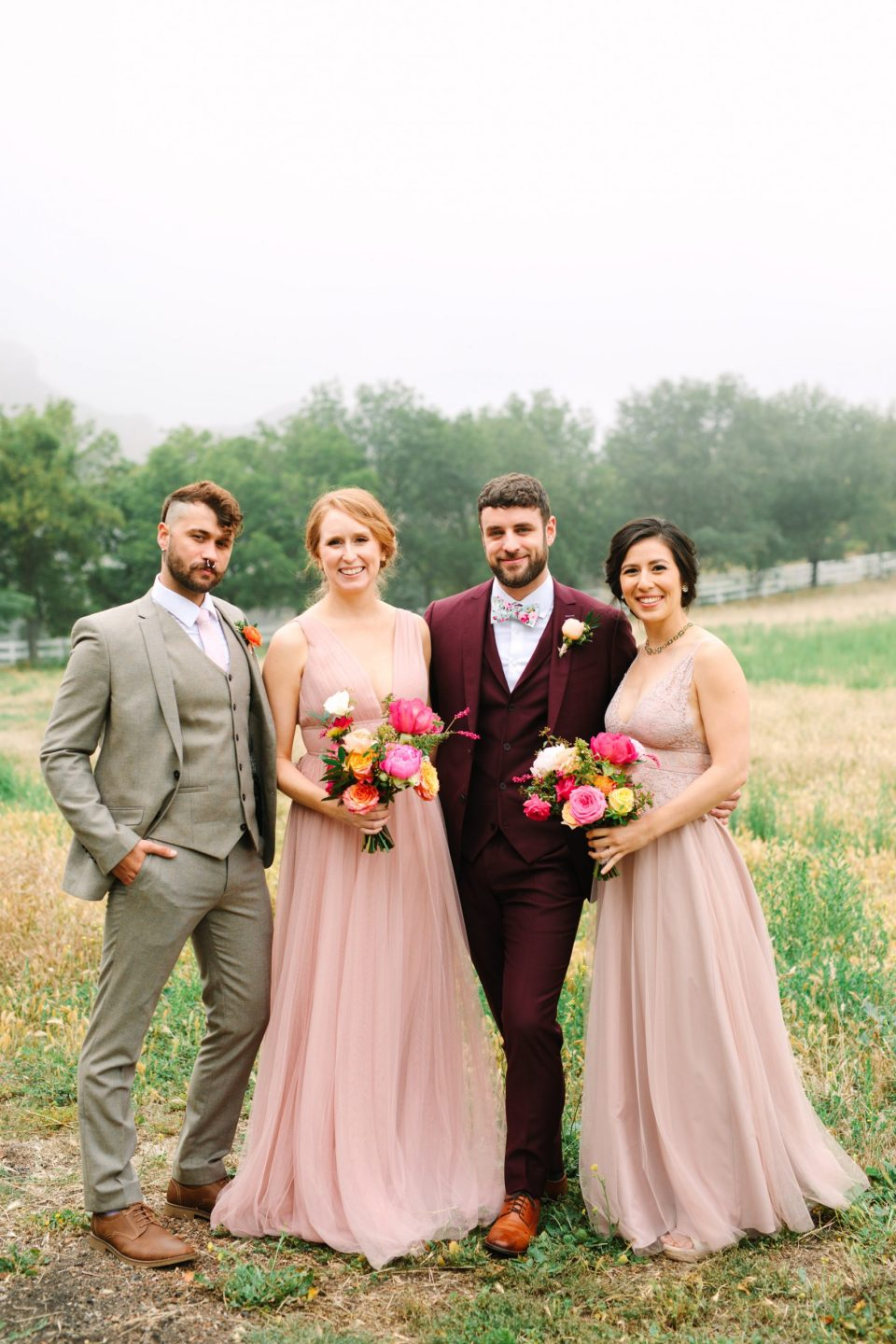 Pink wedding party by Mary Costa Photography