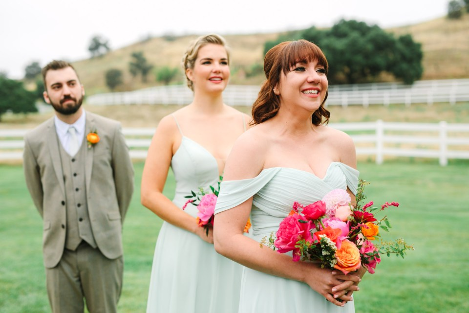 Joyful wedding party by by Mary Costa Photography