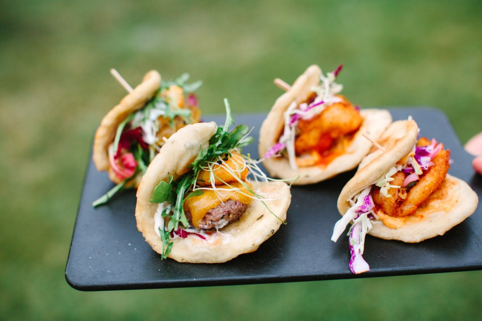 Taco wedding appetizers by Mary Costa Photography
