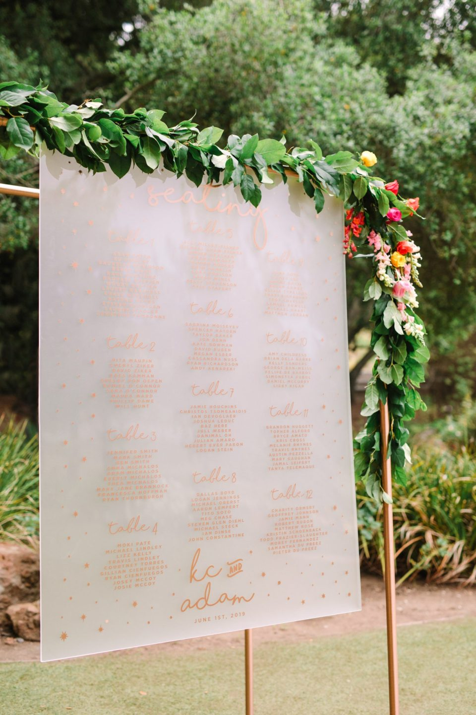 Seating chart created by Tropic of Flowers, photo by Mary Costa Photography