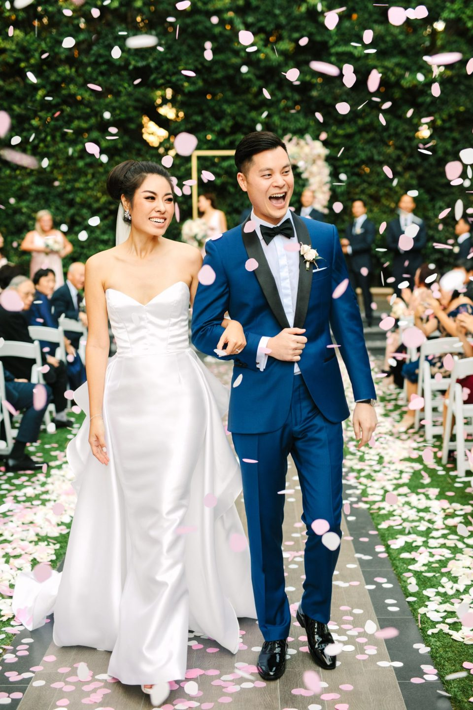 Confetti bride and groom at Beverly Hills Four Seasons by Mary Costa Photography