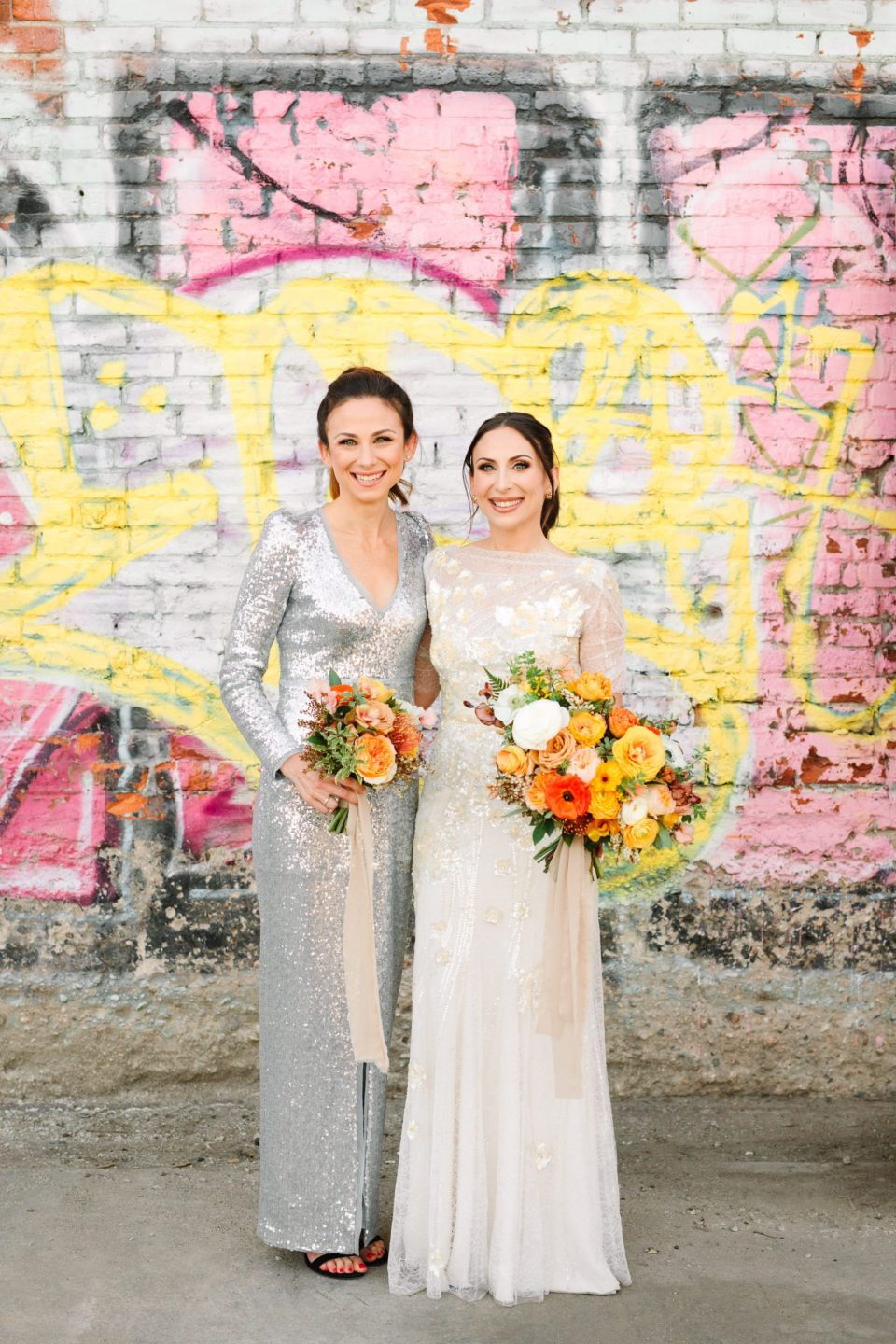 Bride and bridesmaid in sequin dress www.marycostaweddings.com