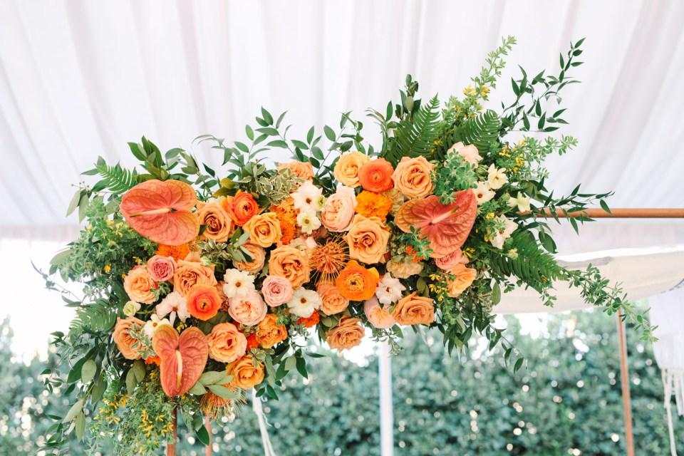 Orange wedding chuppah www.marycostaweddings.com