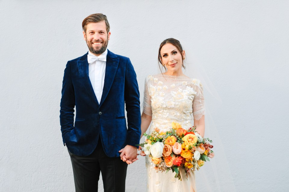 Bride and groom in DTLA www.marycostaweddings.com