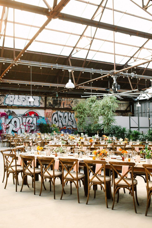 Wedding tables with graffiti www.marycostaweddings.com