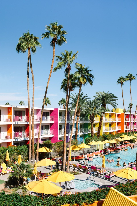 Colorful pool at Saguaro Palm Springs www.marycostaweddings.com