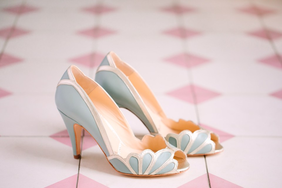 Blue bridal shoes at Sands Hotel and Spa www.marycostaweddings.com