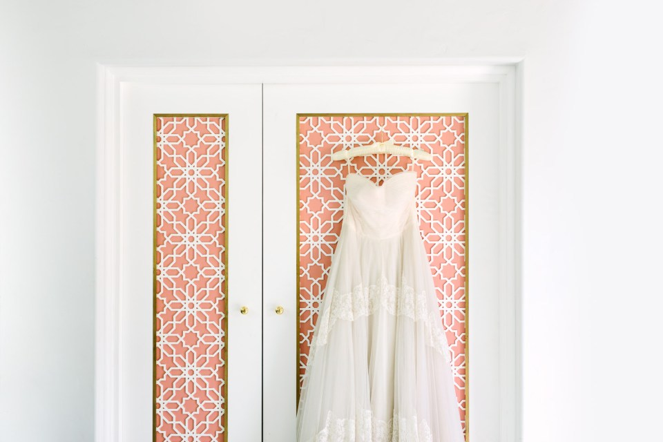 Bridal gown hanging in Sands Hotel and Spa www.marycostaweddings.com