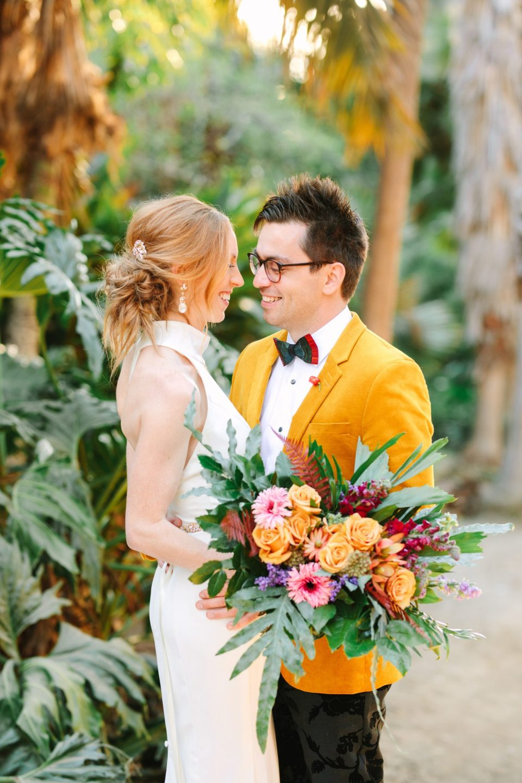 Bride and groom in palm canyon - www.marycostaweddings.com