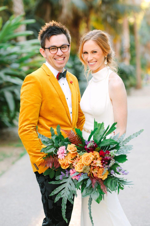 Colorful bride and groom in Balboa Park San Diego - www.marycostaweddings.com