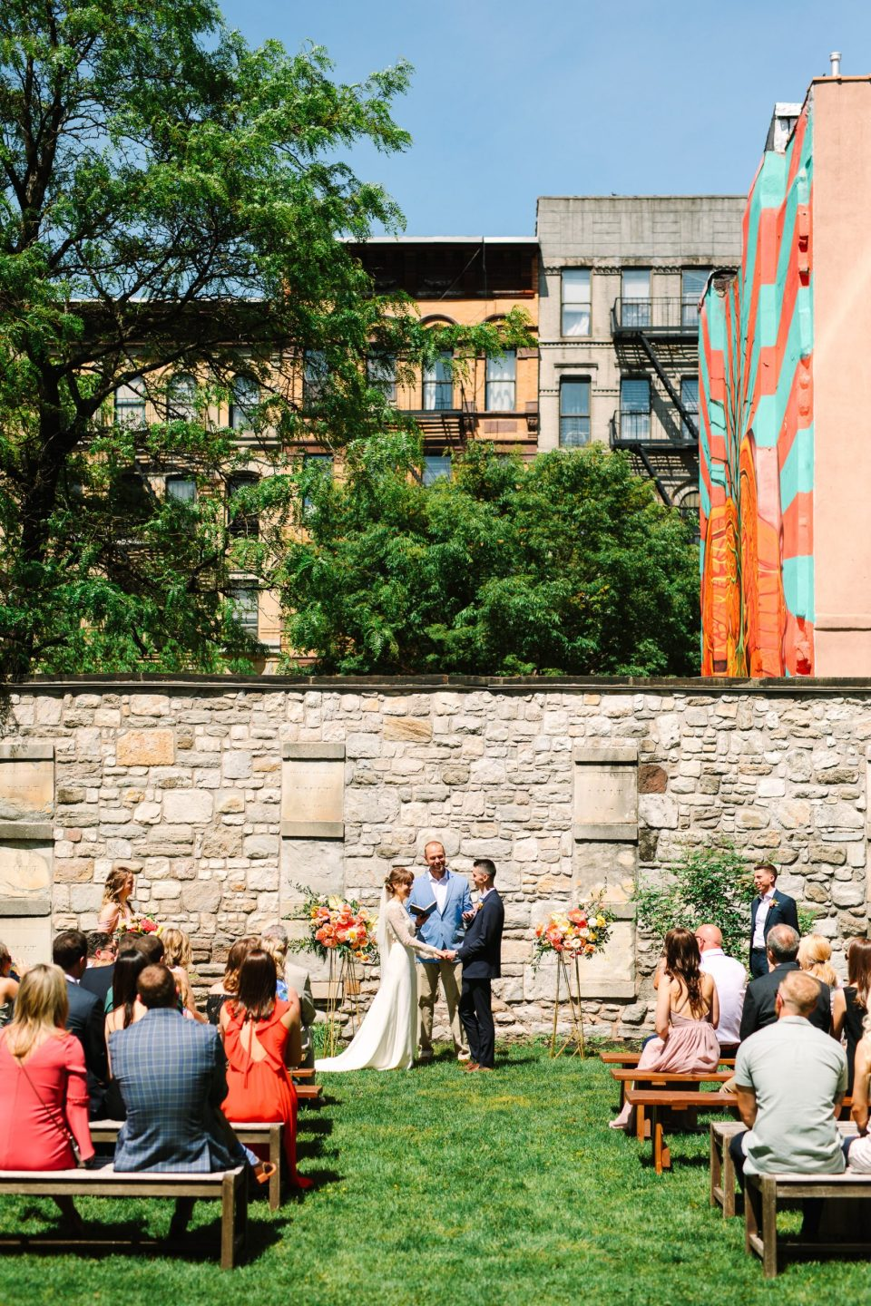 Sunny ceremony at the New York Marble Cemetery - www.marycostaweddings.com