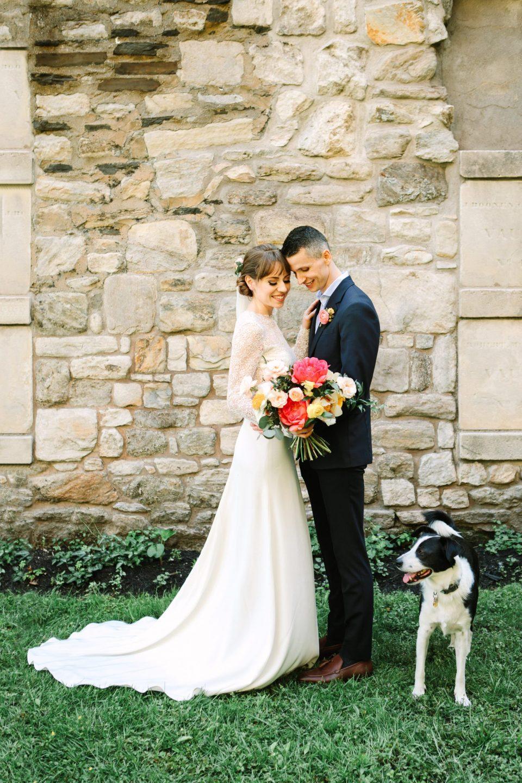 Bride and groom portrait with dog - www.marycostaweddings.com
