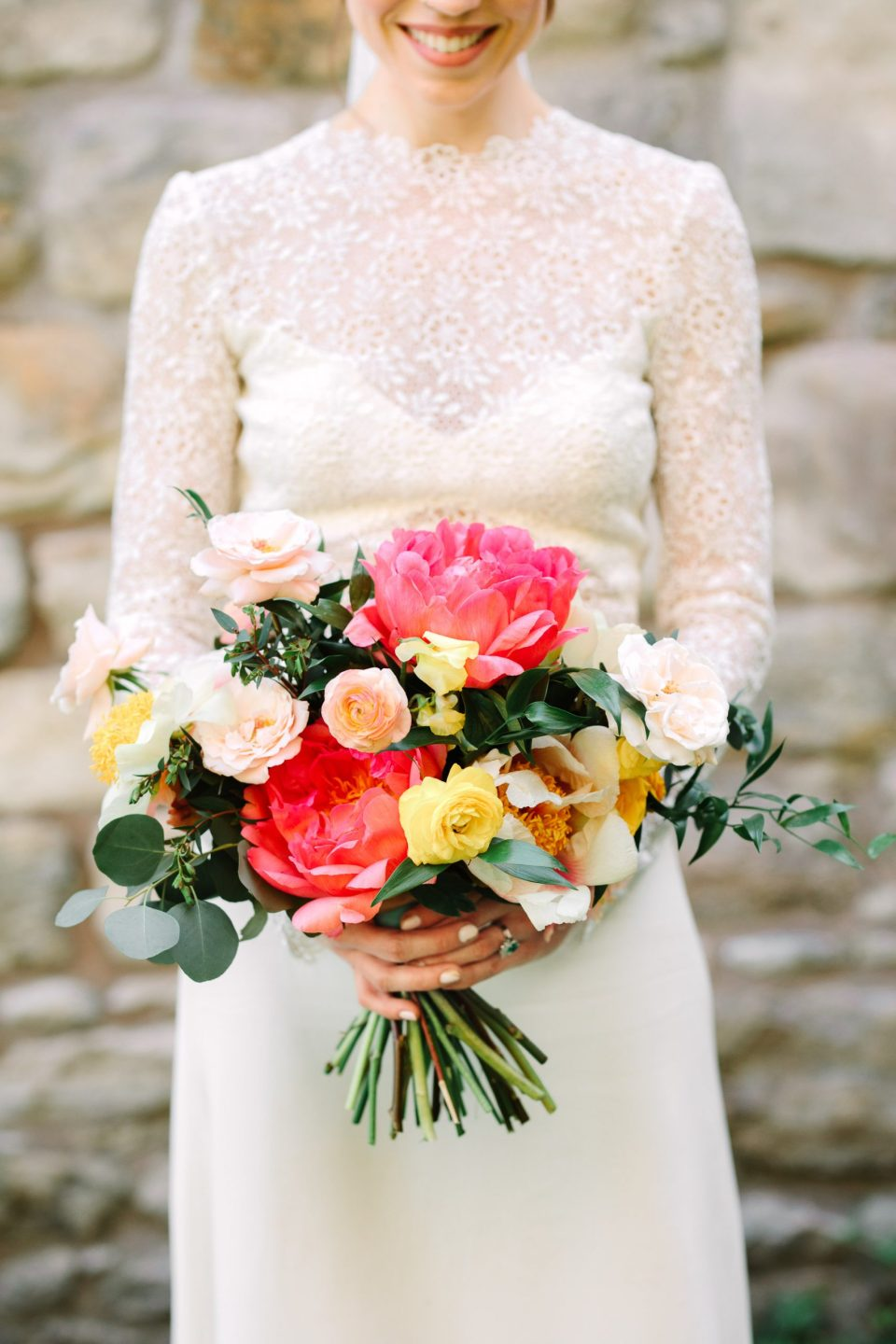 Bride bouquet with peonies by Flower Witch NYC - www.marycostaweddings.com