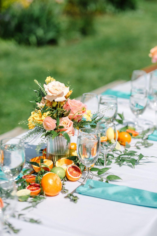 Citrus and flower decor for luncheon wedding - www.marycostaweddings.com