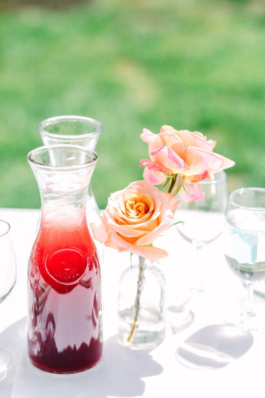 Juice and flowers at wedding - www.marycostaweddings.com