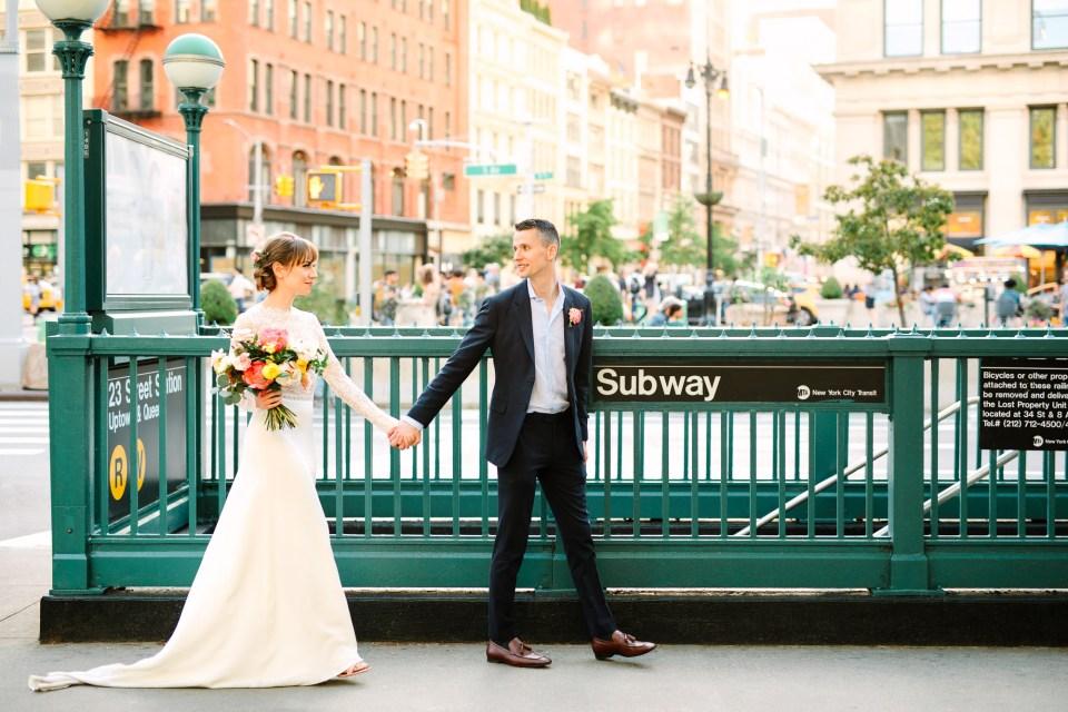 Bride and groom with Subway - www.marycostaweddings.com