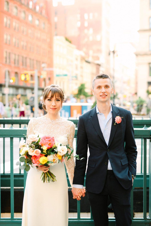 Wedding portrait in front of NYC Subway - www.marycostaweddings.com