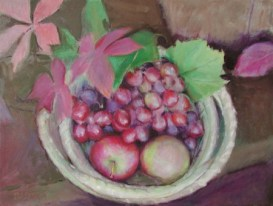 "Grapes and Apples in a Sweetgrass Basket, oil on canvas, 12"" x 16"""