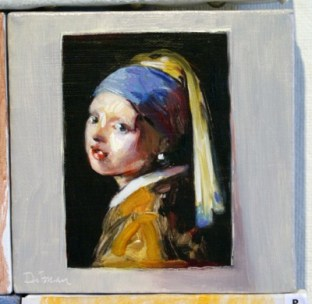 "Postcard from Judy, oil on canvas, 6"" x 6"", 2010."