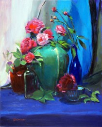 "Still Life with Roses and Peonies, oil on canvas, 20"" x 16""."