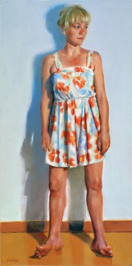 "Sally Franson, oil on canvas, 24"" x 12""."