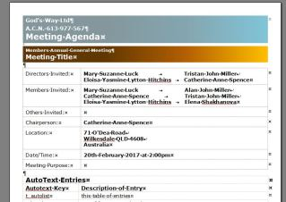 GW agenda screen shot