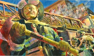 Illustration of Firefighter Face by Chris Soentpiet.
